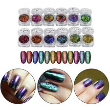6/12 Colors Glitter Mirror Chrome Dust Nail Art Shimmer Color Changing Powder ES