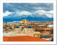 View Of Distant Mountains And Buildings In Albuquerque, New Mexi