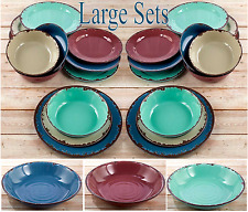 Rustic Melamine Dinnerware Service Shatterproof Dishes Plates Serving Bowls LOT