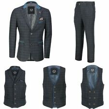 Mens Blue Tweed Check 3 Piece Suit Blazer Trouser Waistcoat Sold as Separately