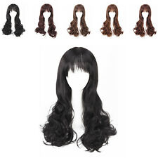 Fashion Women's Long Curly Wave Wigs Neat Bangs Hair for Party Cosplay 5 Colors