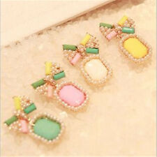 Pearl Gem Brief Color Stud Fashion Bow Stud Earring Earrings Elegant Candy 1Pair
