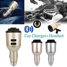 Bluetooth Headset 2 in 1 Dual USB Port Car Charger With Wireless Earphone