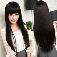 Fashion Black Women Long Straight Silky Hair Full Wig Cosplay Daily Party Wigs