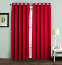 BLACKOUT PAIR CURTAINS POLYESTER WEAVED THERMAL READY MADE EYELET RING TOP RED