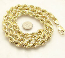 9mm Twisted Rope Link Chain Necklace 14K Yellow Gold Clad Sterling Silver ITALY