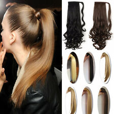 US Sexy Lady Wrap On Clip In Ponytail Real Thick Hair Extensions Brown Blonde