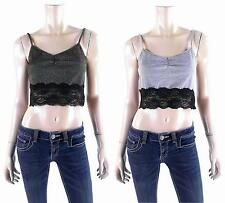 NEW Womens Metallic Longline Sexy Lace-Trim Layer Crop Cami Top Gold/Silver/Blk