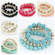 Fashion Woman Multi-Layers Crystals Pearls Beads Rose Bracelet Bracelet Jewelry