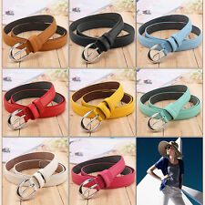 Women Skinny Waist Belt Thin PU Leather Buckle Alloy Casual Lady Waistband Strap
