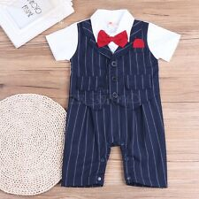 Baby Boys Short Sleeve Bodysuit Toddler Gentleman Bow-Tie Romper Clothes 6-24 M