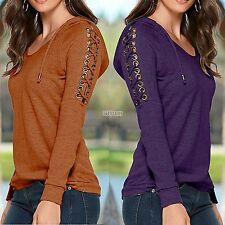Women Fashion Casual Hooded Raglan Long Sleeve Lace-up Solid Pullover B5UT