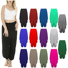 New Womens Plain Harem Ali Baba Trousers Pants Leggings Baggy Hippy Plus Sizes