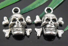 Free Ship 35/96Pcs Tibetan Silver Skull Charms 14x13mm