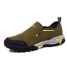 Mens Genuine Leather Trail Walking Outdoor Shoes Casual Non Slip Hiking Shoes