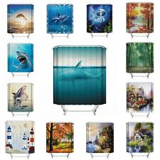 UK Waterproof Polyester Ocean Fish Bathroom Shower Curtain Home Decor 12 Hooks