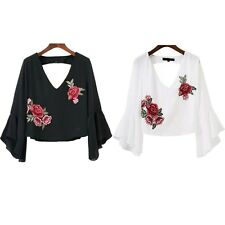Blouse Blouse Short Ruffle Fashion Embroidery Summer Casual Chiffon New V Neck
