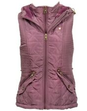 New Womens ladies lilac quilted fur hooded gilet body warmer jacket size - 8-14