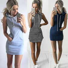 Stylish Womens Drawstring Hooded Sleeveless Dress Pocket Casual Sport Mini Dress