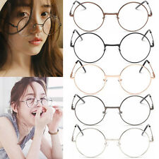 Womens Mens Retro Round Metal Frame Clear Lens Glasses Nerd Spectacles Eyeglass