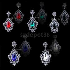 Women Wedding Bridal Shiny Crystal Rhinestone Drop Dangle Earrings Ear Studs