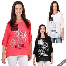 Womens Casual Floral Oversize Chiffon Long Sleeve Blouse Tunic Top T-shirt US