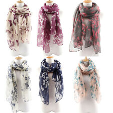 Women Soft Butterfly Print Long Neck Voile Wrap Shawl Pashmina Stole Scarf Witty