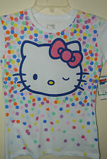 New HELLO KITTY Girl's Kid's T-shirt TEE  White   L XL Glitter