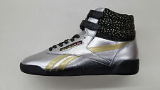 REEBOK FREESTYLE HI BIRTHDAY METALLIC SILVER GOLD BLACK BIG KIDS SNEAKERS BD2433