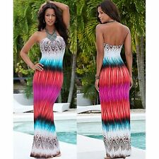 Fashion Women Summer Beach Strapless Boho Floral Evening Party Long Maxi Dresses