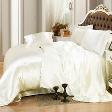 Super Soft 800 1000 TC Ivory Solid Duvet / Sheets Satin Silk Choose Size & Items