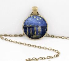 Van Gogh Starry Night over the Rhone Pendant Necklace