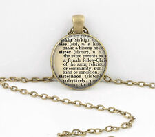 Sister Gift Dictionary Word Pendant Necklace Jewelry or Key Ring