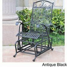 Outdoor Glider Chair Rocking Furniture Black Metal Patio Porch Seat High Back