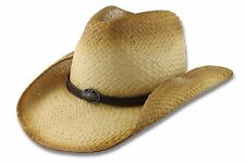 Straw Western Hat Braided Band Concho Cowboy Outback Size S/M L/XL Unisex Burned
