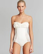 $151 JUICY COUTURE M,L Croche Ruffle One Piece Bandeau Ivory PrimaDonna Swimsuit