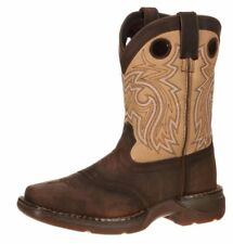 """Durango Western Boots Boys 8"""" Saddle Leather Square Toe Brown DBT0118"""