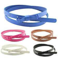 Womens Candy Color 2 Layers Bowknot Narrow Belt PU Leather Waistband Strap Witty