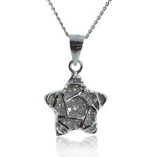 925 STERLING SILVER SPARKLY STAR PENDANT WITH CZ STONES AND CURB CHAIN NECKLACE