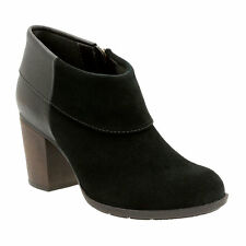 Clarks Womens Ankle Booties Enfield Canal Heeled Black Zipper sizes 8.5, 12 NEW