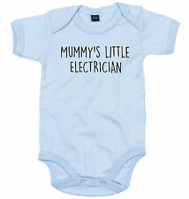 ELECTRICIAN BODY SUIT PERSONALISED MUMMY'S LITTLE BABY GROW NEWBORN GIFT