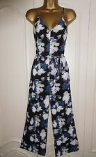 TOPSHOP BLACK MULTI FLORAL ALL IN ONE CROP TROUSER JUMPSUIT PLAYSUIT SZ 4-16 NEW