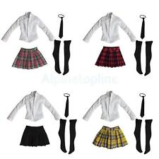 "1/6 Shirt Skirt Tie Stockings Set Schoolgirl Uniform for 12"" Phicen Kumik Female"