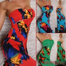 Womens New Strapless Cocktail Evening Floral Maxi Dress Sexy Casual Hot Sz 8-10