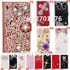 Crystal Bling Luxury Diamonds PU Leather wallet flip Slots Magnetic Cover Case R