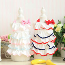 Small Medium Dog Dress Pleated Tiered Skirt Pet Cat Clothes Puppy Apparel Yorkie