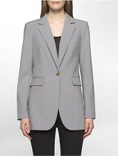 calvin klein womens luxe one-button long suit jacket