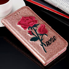 Floral Bling Glitter Stand Wallet Case Cover For Apple iPhone 6s 7 7 plus 5s