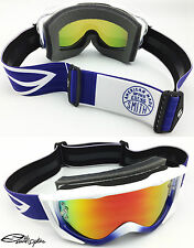 SMITH FUEL V2 SWEAT-X MOTOCROSS MX GOGGLES WHITE / BLUE with RED MIRRORED LENS