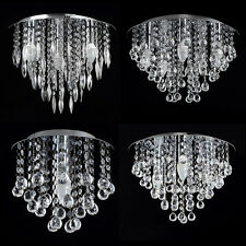 LED Modern Chandelier Flush Indoor Ceiling Fitting Chrome Acrylic Leaf Droplet